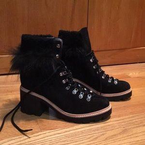 Sigerson Morrison NAIA Black Fur Hiker Boot, 39/ 9